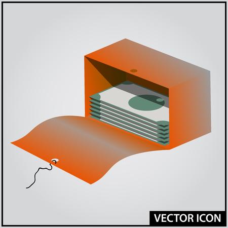 red open box for money vector icon Ilustração