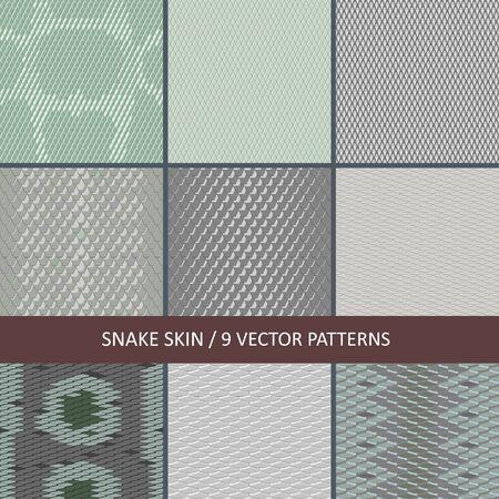 raccolta di texture di pelle di serpente senza cuciture vettoriali Vettoriali
