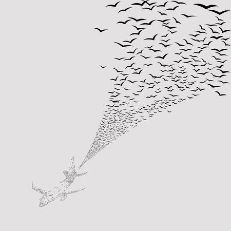 vector seamless texture of flying flock of birds