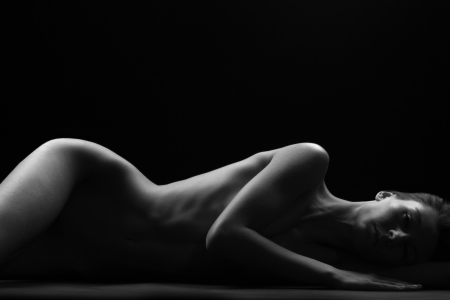 nude art model: beauty of nudity light and shadow Stock Photo