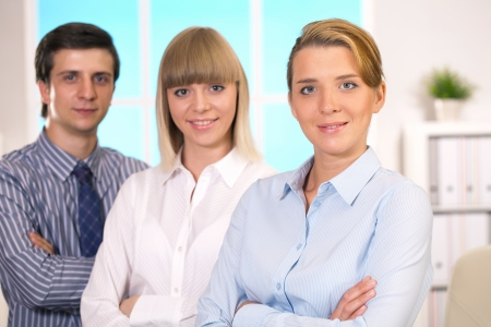 belonging to the caucasoid race: management team discusses the project Stock Photo