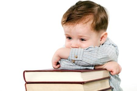 Porträt eines intelligenten Kind auf weißem Hintergrund Standard-Bild - 14695607