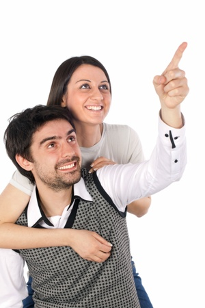 girl and a young man laughing on white background photo
