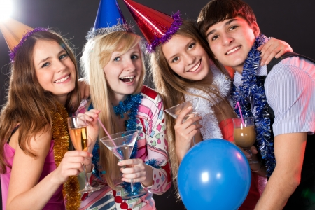 greets: young people have fun greets holiday Stock Photo
