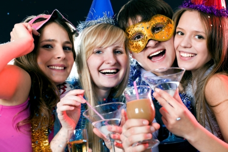 trumpery: young people have fun greets holiday Stock Photo