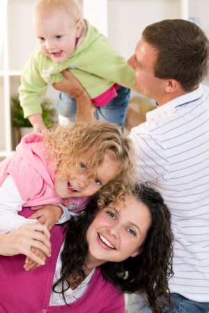 3 4 length: five of a family holiday Stock Photo