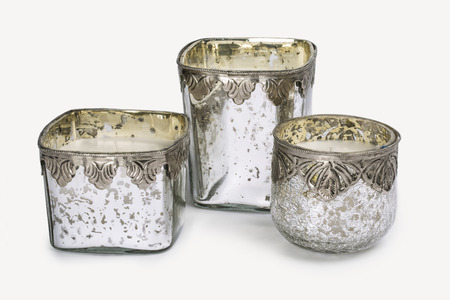 THREE ROUND CRACKLED GLASS CANDLEHOLDERS