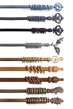 Close Up Of Various Curtain Rods In Different Materials & Colors Isolated On White Background Banque d'images