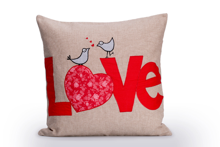 Love Pillow, Red Love Letters And Two Birds Embroidered On Brown Cotton Textile Pillow Isolated On White Background, Perfect Gift For Valentines Day Or As A Bohemian Home Accessory Decoration