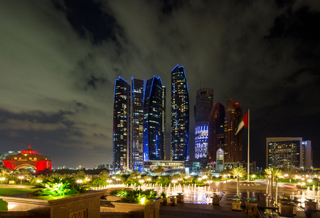 Abu Dhabi, UAE - Nov 26, 2015: The Skyscrapers Etihad Towers Illuminated At Night In The Capital City Of United Arab Emirates. Abu Dhabi, Night View