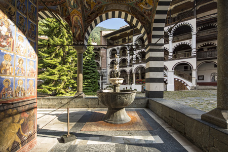 Monastery of Saint Ivan of Rila,the largest and most famous Eastern Orthodox monastery in Bulgaria 免版税图像
