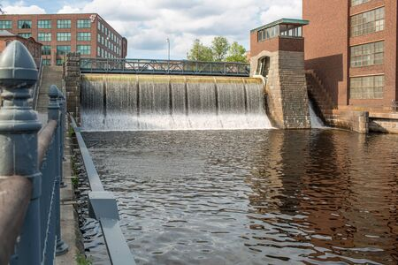 Water dam of an old cotton factory in Tampere industrial city of Finland 免版税图像