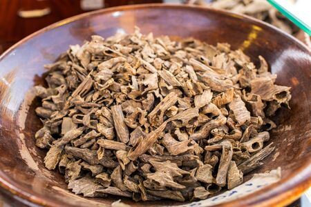 Sticks Of Agar Wood Or Agarwood  The Incense Chips Used By Burning for incense & perfumes of essential oil 免版税图像