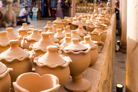 Collection of Handmade clay pots made from mud Arabic Style and design 免版税图像