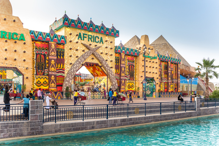 Dubai, United Arab Emirates - March 18 2018: Global Village Africa Pavilion the multicultural festival park and the family destination for culture, shopping and entertainment