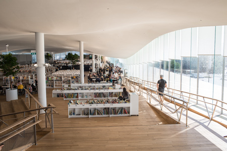 Helsinki, Finland - June 09 2019 :The Helsinki's new public Central Library Oodi with wide range of services and facilities