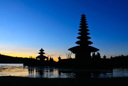 Bedugul temple in Bali at sunrise Stock Photo