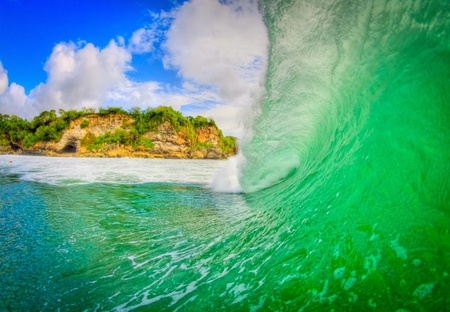 Inside view of Padang padang wave in Bali photo