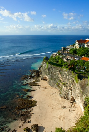 A large view of Uluwatu surfspot from the cliff Stock Photo