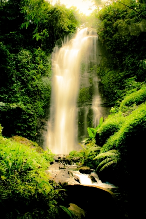 bali: A golden waterfall in center Bali