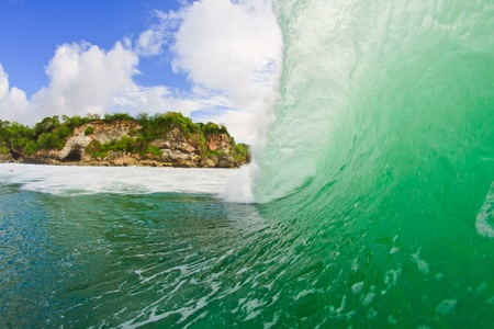 Large view from the inside of Padang padang wave