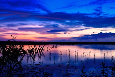A purple sunset from a lake shore in Bali