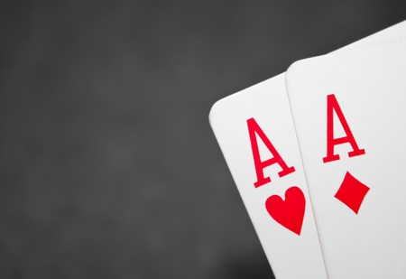 Pocket aces with black and white background