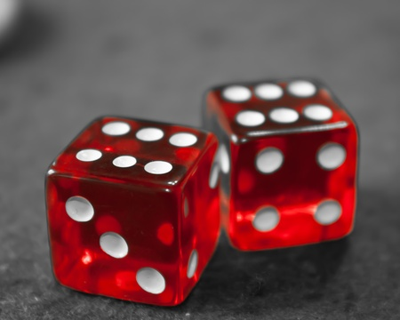 Two red and white dices double six with Black white background