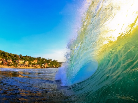 epic: Inside view of bingin wave at sunset Stock Photo