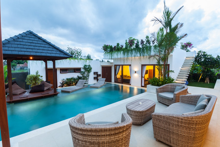 modern lifestyle: Tropical villa Stock Photo