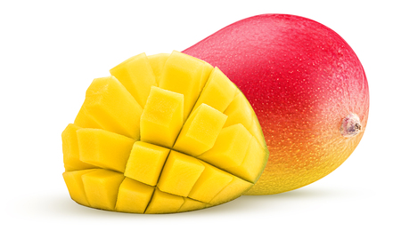 Mango exotic friut one cut in half cubes isolated on white background. Clipping Path. Stock Photo