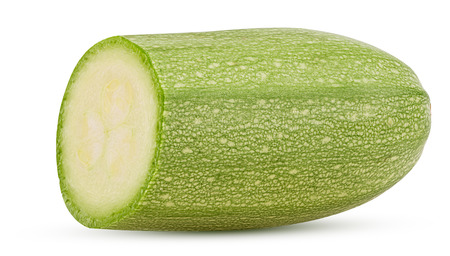 Fresh Italian zucchini half isolated on white background. Clipping Path
