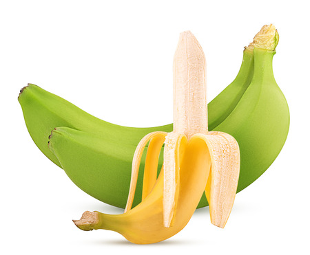 banana skin: Two green and Ripe peeled bananas isolated on white background. Clipping Path.