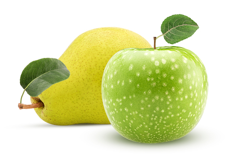 Yellow pear and green apple with leaf isolated on white background. Clipping Path