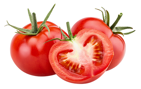 Two fresh red tomato and one cut in half with green leaves isolated on white background Clipping Path. Full depth of field. Stock Photo