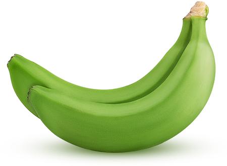 白い背景クリッピングパスに分離された2つの緑のバナナ。被写界深度。