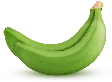 Two green banana isolated on white background Clipping Path. Full depth of field.