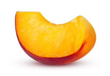 Ripe peach fruit isolated on white background.