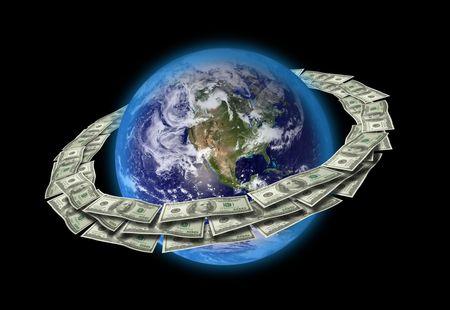 Dollars Around The World. Stock Photo