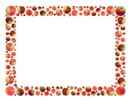 Isolated apples frame with shadow on white background photo