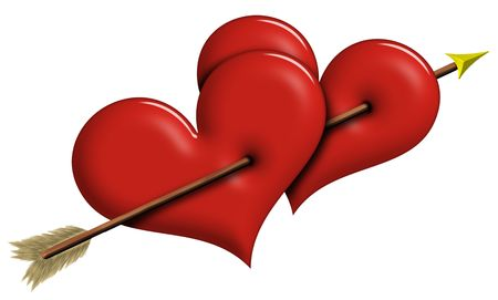 Two Red Hearts pierced together by arrow