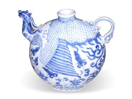 chinese tea pot: T� chino olla con un pico de un ave f�nix cabeza