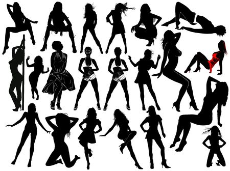 Twenty one silhouettes of ual young women Stock Photo