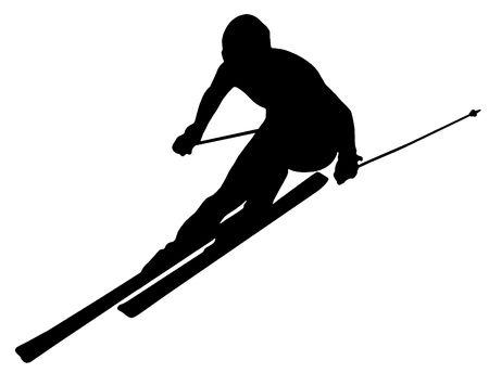black giant mountain: Silhouette of a skier. Sports. Winter. Snow. Extreme.