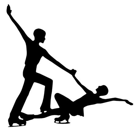 propel: Silhouette of professional woman and man figure skaters