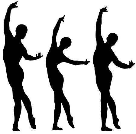 Woman and two men ballet silhouettes isolated on white