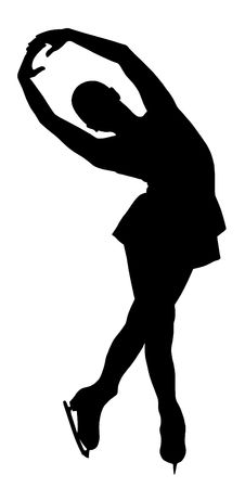 figure skates: Silhouette of professional woman figure skater performing at Stars on ice show Stock Photo