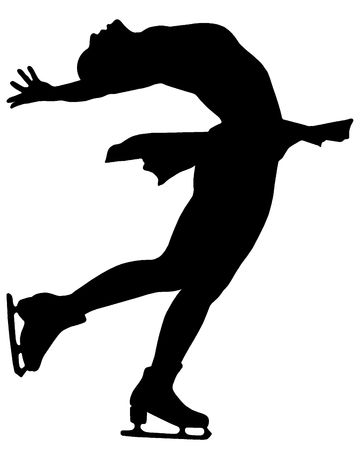 Silhouette of professional woman figure skater performing at Stars on ice show Stock Photo