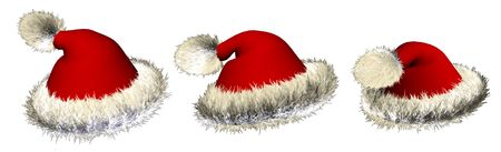 Three Santa claus hats over white background Stock Photo - 2568152