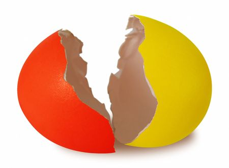 Easter broken egg shell isolated on white background photo